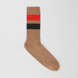 Burberry Striped Cotton Blend Socks