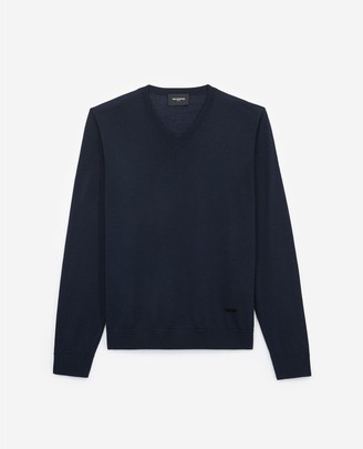 The Kooples Slim blue wool V-neck sweater with piping