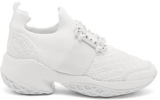 Roger Vivier Viv Run Crystal-embellished Buckled Trainers - White
