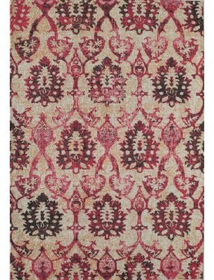 "Bungalow Rose Schaible Ivory Fuchsia Area Rug Rug Size: Rectangle 7'10"" x 9'10"""