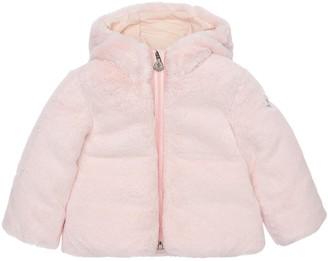 Moncler Candle Nylon Down Jacket W/ Faux Fur