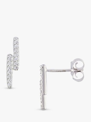 London Road 9ct White Gold Double Bar Stud Earrings