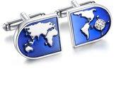 Areke Jewelry World Map Shirts Cufflinks for Men, Wedding Business Tuxedo Cuff Links Silver Style 1 Pair