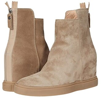 AGL Back Zip Wedge Boot (Taupe) Women's Shoes