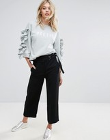MANGO Wide Leg Cropped Pant With D-Ring