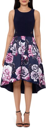 Xscape Evenings Floral High/Low Cocktail Dress