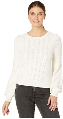 Lilla P Fisherman Cable Crew Neck Sweater (Ivory) Women's Sweater