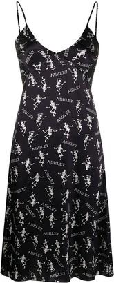 Ashley Williams Black Logo-Print Dress