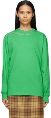 SSENSE WORKS SSENSE Exclusive Jeremy O. Harris Green Cursive Text Long Sleeve T-Shirt