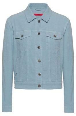 HUGO ALEX slim-fit cropped jacket in corduroy stretch denim