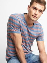 Mix stripe V-neck tee