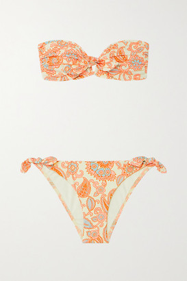 Zimmermann Peggy Paisley-print Bandeau Bikini - Orange