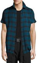 Helmut Lang Check Short-Sleeve Drawstring-Hem Shirt