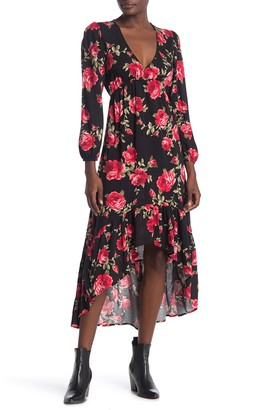 Velvet Torch Floral Long Sleeve Ruffled High/Low Dress