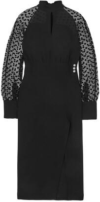 Balmain Flocked Tulle-paneled Cutout Crepe Midi Dress