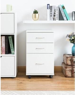 Latitude Run Lokman 3-Drawer Mobile Vertical Filing Cabinet Color: White