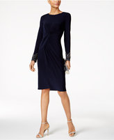 Vince Camuto Long-Sleeve Beaded Sheath Dress