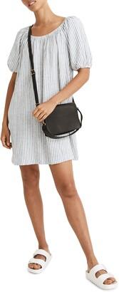 Madewell Puff Sleeve Linen Blend Trapeze Minidress