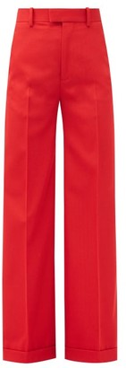 Bottega Veneta High-rise Wide-leg Wool-gabardine Trousers - Red