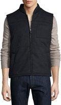 Neiman Marcus Zip-Front Woven Puffer Vest, Charcoal