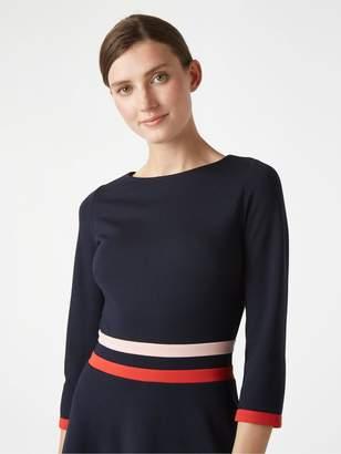 Hobbs Sleeved Seasalter Dress - Navy/Red