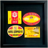 One Kings Lane Vintage Four Framed French Hotel Luggage Labels
