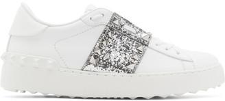Valentino White and Silver Garavani Rockstud Untitled Open Sneakers