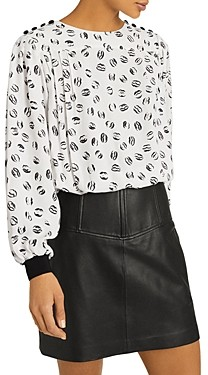 Reiss Jolie Lips Print Blouse
