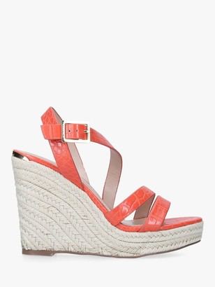 Carvela Summer High Wedge Croc Effect Sandals, Orange