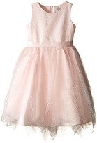 Us Angels Dot Netting Sleeveless Dress w/ Tiered Hanky Hem Skirt (Big Kids)