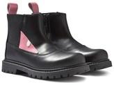 Fendi Black Leather Pink Monster Eye Chelsea Boots