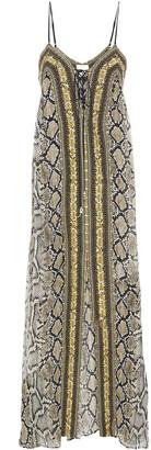 Camilla Lace-up Crystal-embellished Snake-print Silk-chiffon Maxi Dress