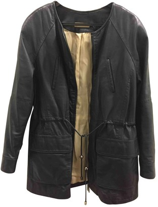 Uterque Navy Leather Jackets