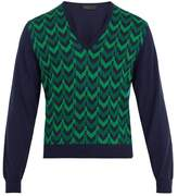 Prada V-neck Chevron-intarsia Wool Sweater
