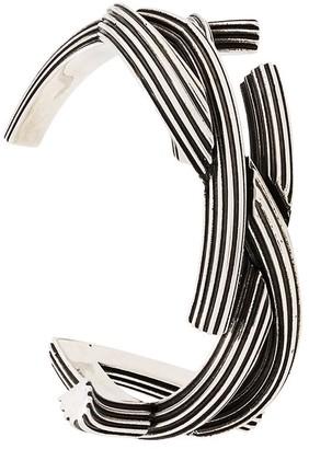 Saint Laurent Monogram Textured Cuff Bracelet