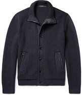 Ermenegildo Zegna Leather-trimmed High Performance Wool Zip-up Cardigan