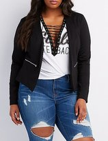 Charlotte Russe Plus Size Zipper-Trim Collarless Blazer