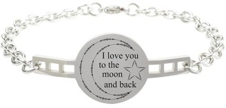Fully Adjustable Inspirational Link Bracelet by Pink Box I love you to the moon and back Silver