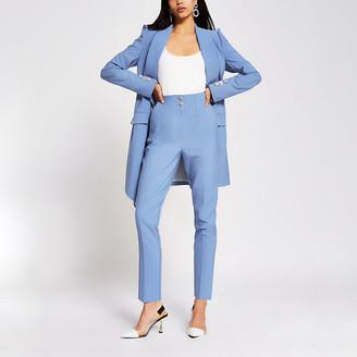 River Island Blue diamante button cigarette trousers