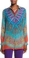 Etro Mandala Printed Silk Tunic, Turquoise/Purple/Orange