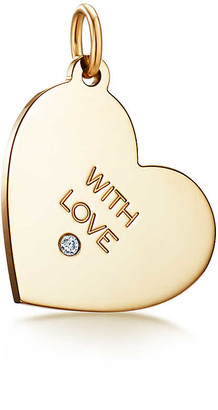 "Tiffany & Co. Charms ""With Love"" tag in 18k gold with a diamond, medium"