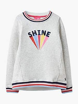 Joules Little Joule Girls' Shine Sequin Sweatshirt, Grey