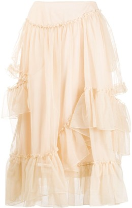 Simone Rocha Ruffle-Detail Mid-Length Skirt