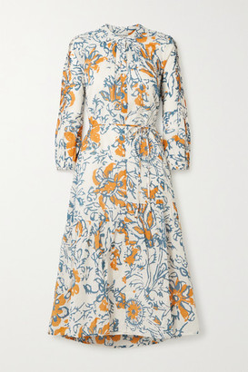 Apiece Apart Esperance Belted Floral-print Organic Cotton-gauze Midi Dress - Blue