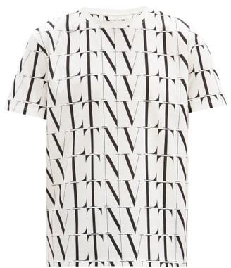 Valentino Logo-print Cotton-jersey T-shirt - White Black