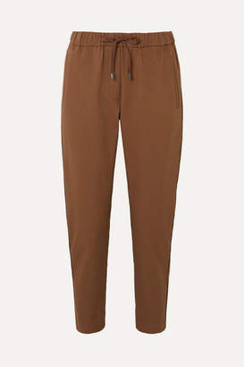 Brunello Cucinelli Bead-embellished Cropped Stretch Cotton And Wool-blend Tapered Track Pants - Camel