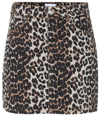 Ganni Leopard-print denim miniskirt