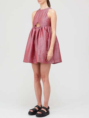Paper London Cut Out Back Mini Dress - Pink/Red