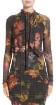 Fuzzi Women's Velvet Trim Print Tulle Cardigan