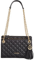 Calvin Klein Quilted Pebble Leather Triple Compartment Crossbody